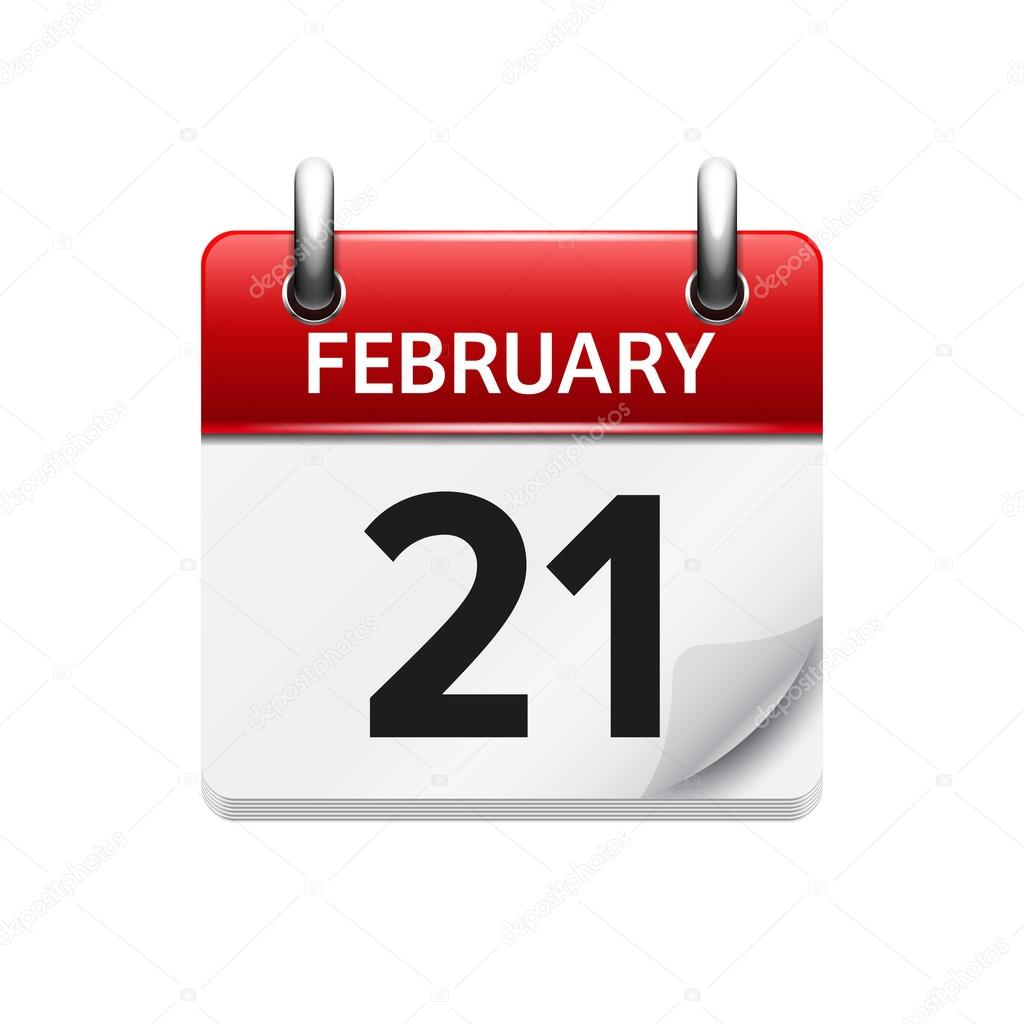 february 21 vector flat daily calendar icon date and time day
