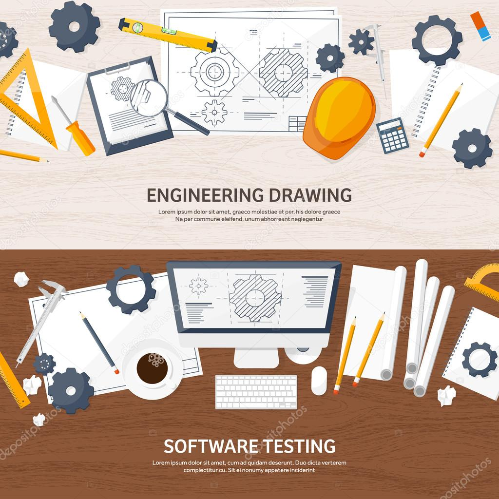 Vector illustration. Engineering and architecture. Computer. Drawing, construction.  Architectural project. Design, sketching. Workspace with tools. Planning, building. Wooden background.