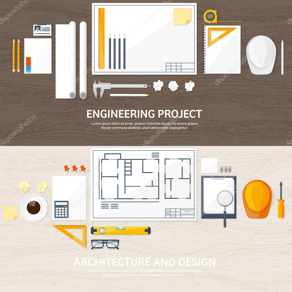 Engineering And Architecture. Drawing, Construction. Architectural Project.  Design, Sketching. Workspace With Tools. Planning And Building. Wood  Background.