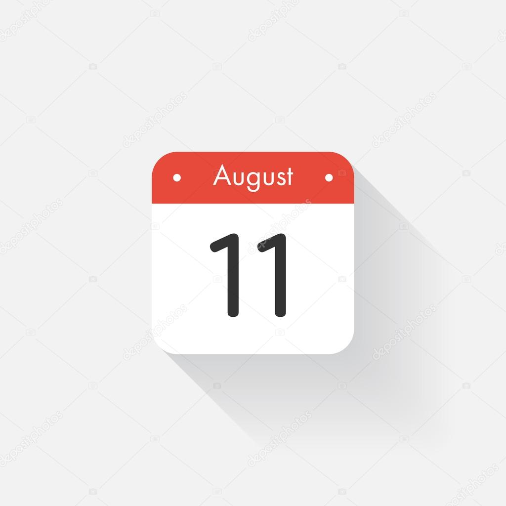 Calendar icon with long shadow flat style dateday and month flat style dateday and month reminder vector illustration organizer application app symbol ui user interface sign august 11 vector by floralset buycottarizona Image collections