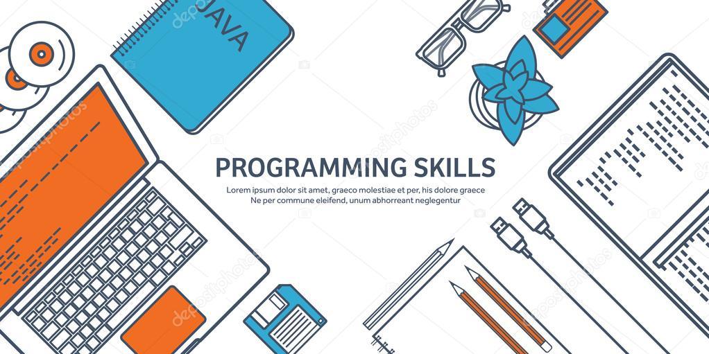 Gefüttert Programmierung, Codierung. Skizzieren Wohnung Computing ...