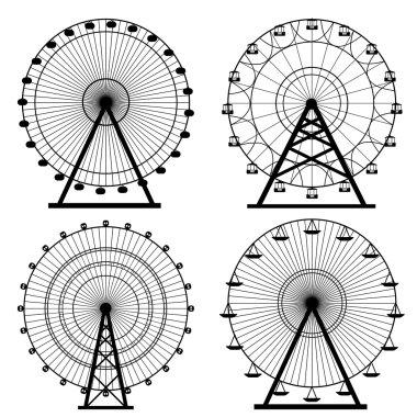 Ferris wheel silhouette, circle. Carnival. Funfair background.Carousel, motion. Vector illustration. stock vector