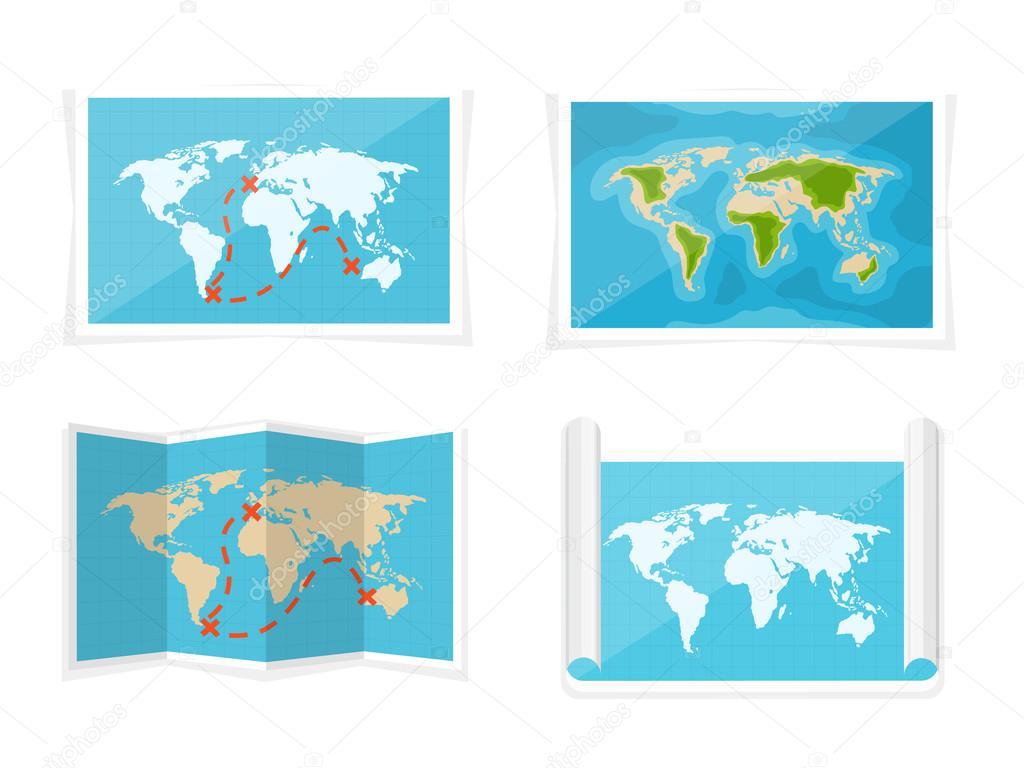 World map. Vector illustration. Navigation. Africa, Antarctica ...