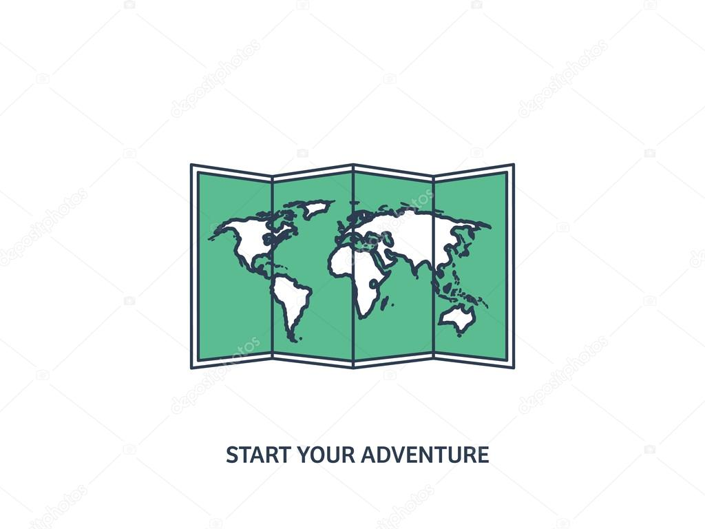 World map in a flat style earth globe navigation route and world map in a flat style earth globe navigation route and destination gumiabroncs Gallery