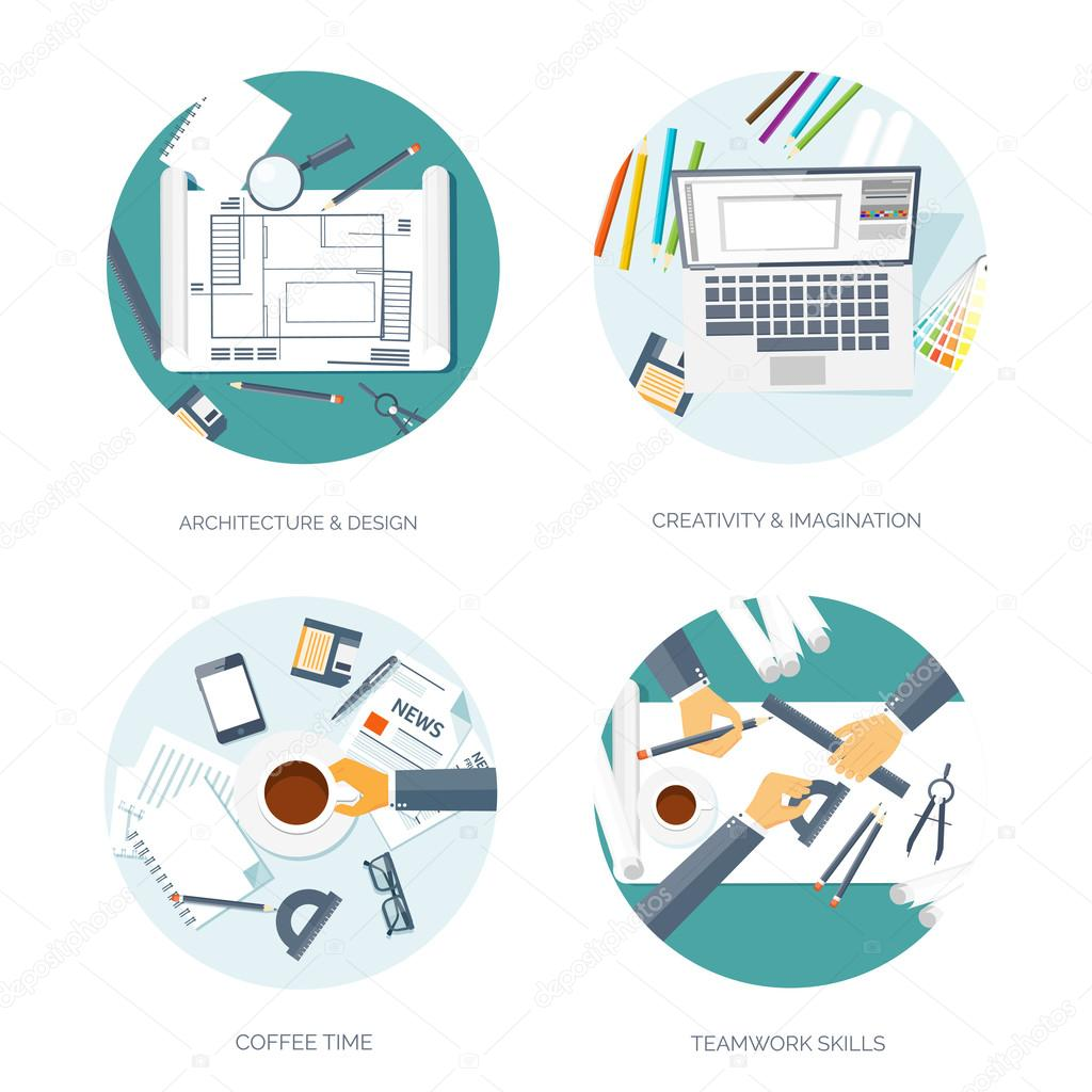 Vector illustration flat architectural project teamwork building flat architectural project teamwork building planning construction pencil ccuart Choice Image