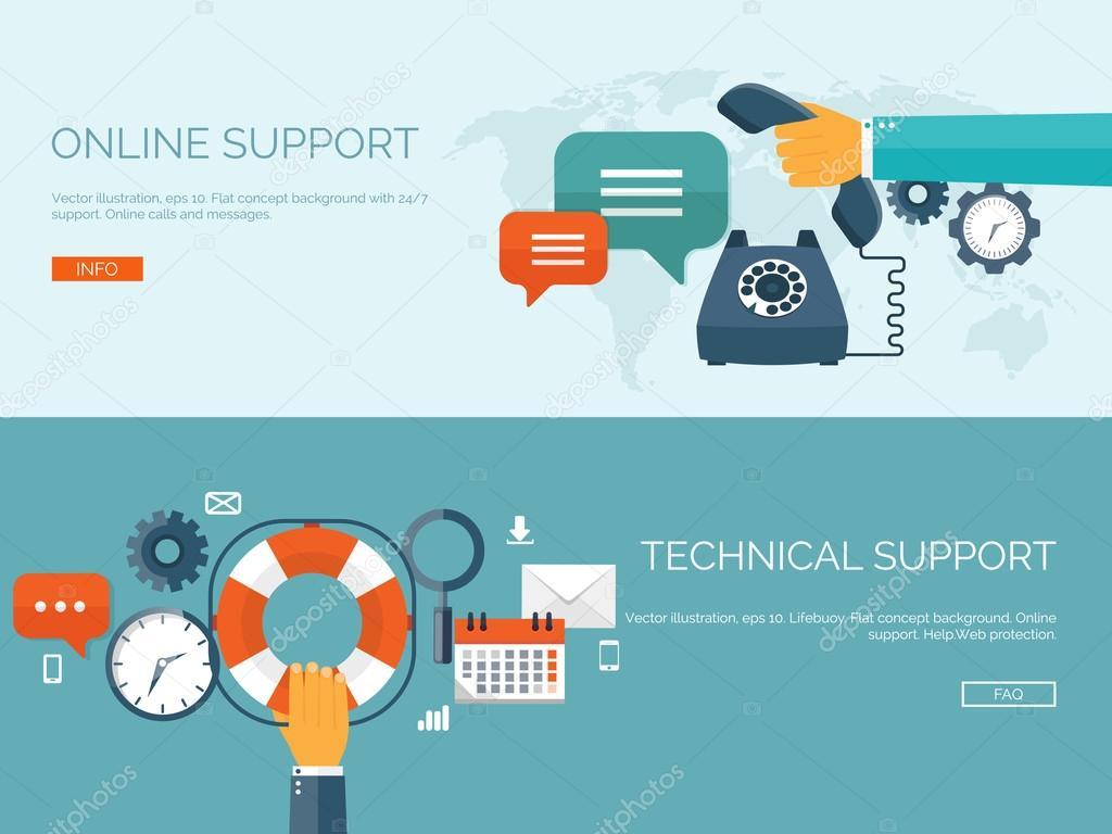 Online-Support und technische Support-Konzept — Stockvektor ...