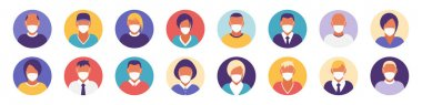 Flat modern minimal avatar icons with medical mask. Business concept, global communication. Web site user profile. Social media, network elements icon