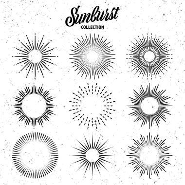 Vintage grunge sunburst collection. Bursting sun rays. Fireworks. Logotype or lettering design element. Radial sunset beams. Vector illustration icon
