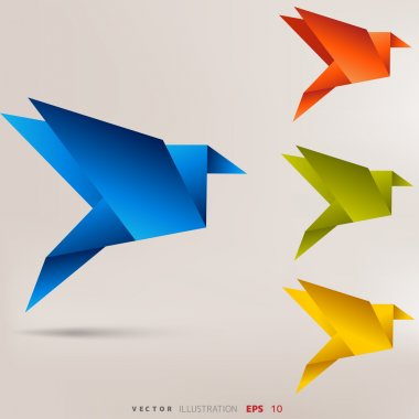 Origami paper birds