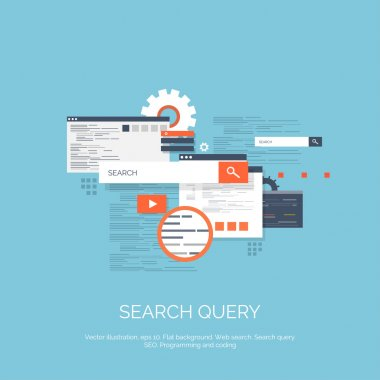 Vector illustration. Web search. Flat computing background. Programming and coding. Web development and search. Search engine optimization. Innovation and technologies. Mobile app.