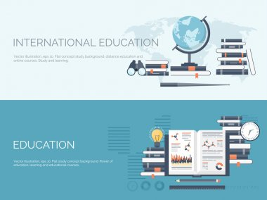 Vector illustration. Flat study backgrounds set. Education and online courses, web tutorials, e-learning. Study ,creative process. Power of knowledge. Video tutorials.