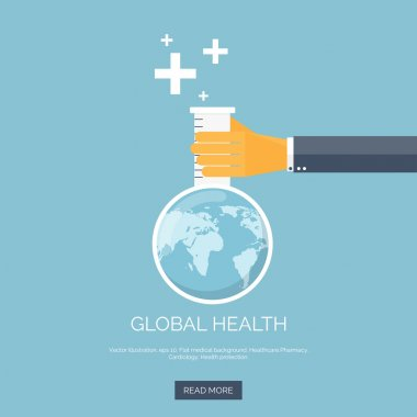 Vector illustration. Flat background with hand and flask. Globe. Global health concept background.