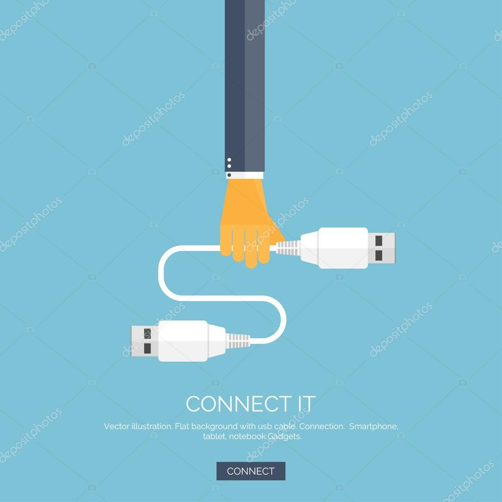 Vector illustration. Flat background with hand and usb cable. Connection. Internet and global communication concept background.