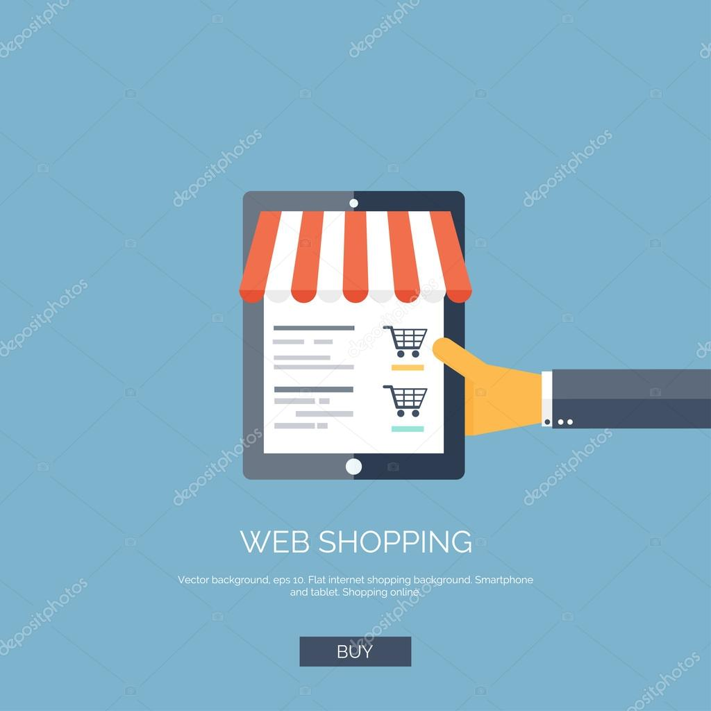 Vector illustration. Flat background with hand and tablet.  Online shopping concept. Web store.