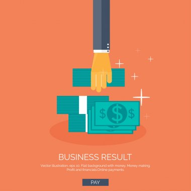 Vector illustration. Flat background with hand and money. Monay making and saving. Pay per click and online shopping.