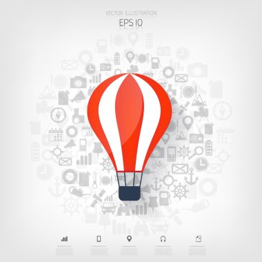 Flat air balloon web icon. Web application icons. Project start up. Business aim.