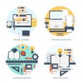 Plochá vektorové ilustrace. Studium a vzdělávání koncept pozadí nastavit. Distanční vzdělávání, brainstorming a znalostní růst, školních a univerzitních subjektů. Úspěch a chytré nápady, schopnosti se