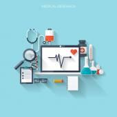 Fényképek lapos egészségügyi ellátás és az orvosi kutatási háttér. egészségügyi rendszer fogalmát. gyógyszer- és vegyészeti technológiai