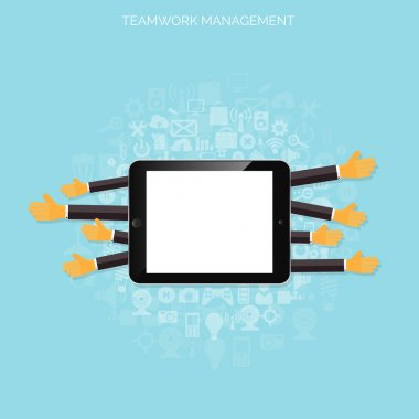 Teamwork management concept. Flat icons. Global communication and working experience. Business, briefing organization. Money making and analyzing.
