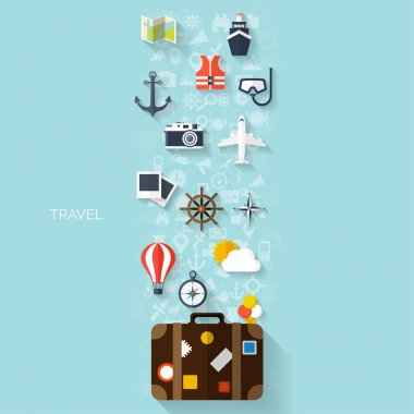 World travel concept background.  Flat icons. Tourism concept image.Holidays and vacation.Sea, ocean, land, air travelling.