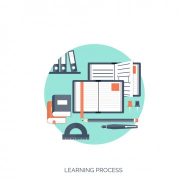 Flat vector illustration. Study and learning concept background. Distance education, brainstorm and knowledge growth,school and university subjects.Success and smart ideas, skills up.