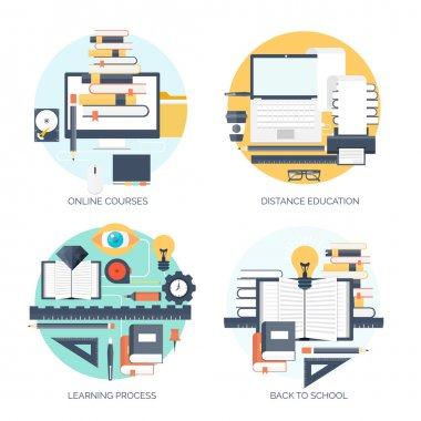 Flat vector illustration. Study and learning concept backgrounds set. Distance education, brainstorm and knowledge growth,school and university subjects.Success and smart ideas, skills up.