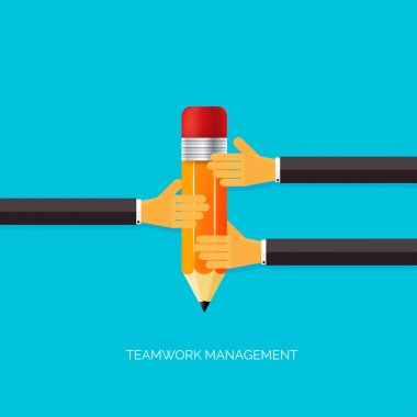 Flat pencil icon in hands. Teamwork management concept. Flat icons. Global communication and working experience. Business, briefing organization. Money making and analyzing.