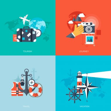 World travel concept backgrounds set.  Flat icons. Tourism concept image.Holidays and vacation.Sea, ocean, land, air travelling.