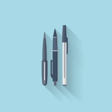 Flat web internet icon. Pen set.
