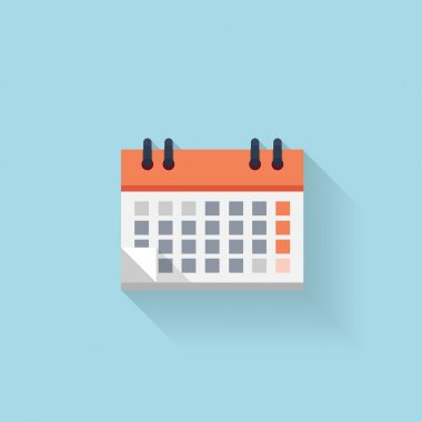 Flat web internet icon. Calendar. Date and time.