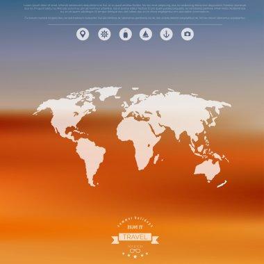 Blurred landscape background. Travel concept with eart map. Mobile or web ui element. Web site header.