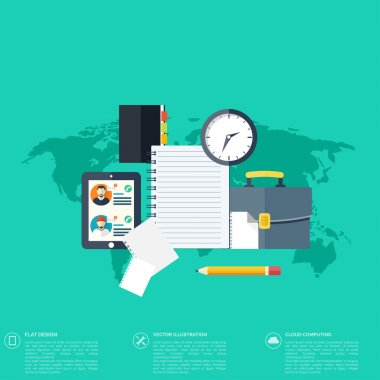 Flat background with papers.Temwork concept. Global communication and working expierence. Business, briefing organization. Money making and analyzing.