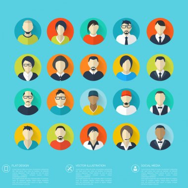 Flat avatar icons. Business concept, global communication. Web site user profile.  Social media, network elements.