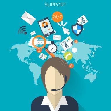 Flat support service background .Temwork concept. Global communication and working expierence. Business, briefing organization. Money making and analyzing.