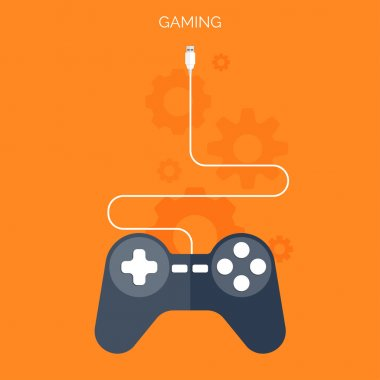 Flat joystick icon.Gaming background