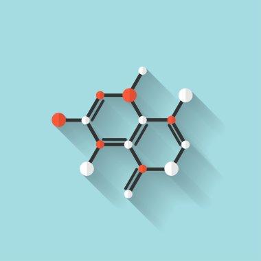 Flat dna icon. Chemical formula symbol. Health care.