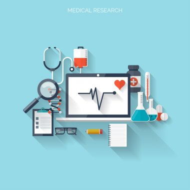 Flat health care and medical research background. Healthcare system concept. Medicine and chemical engineering stock vector