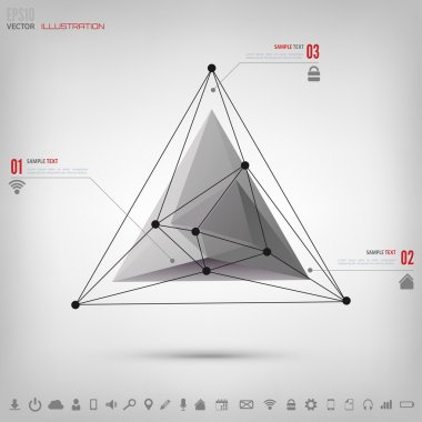 Abstract polygonal geometric background with web icons. Triangle elements.