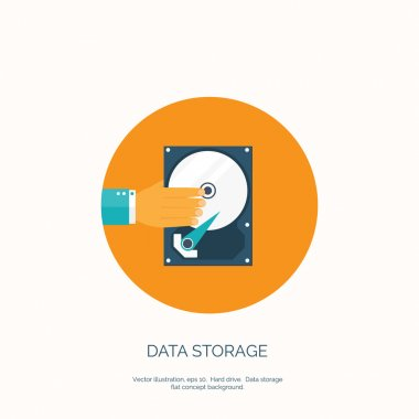 Vector illustration. Flat background with hand and hard drive. Information transfer. Web storage concept background. Cloud computing.