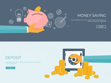 Flat vector illustration backgrounds set. Piggy bank and deposit. Money  saving and money making. Web payments. World currency. Internet store, shopping. Pay per click. Business.
