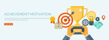 Vector illustration. Flat header.  Target and trophy. Management and achievements. Smart solutions and business aims. Generating ideas. Business planning and strategy