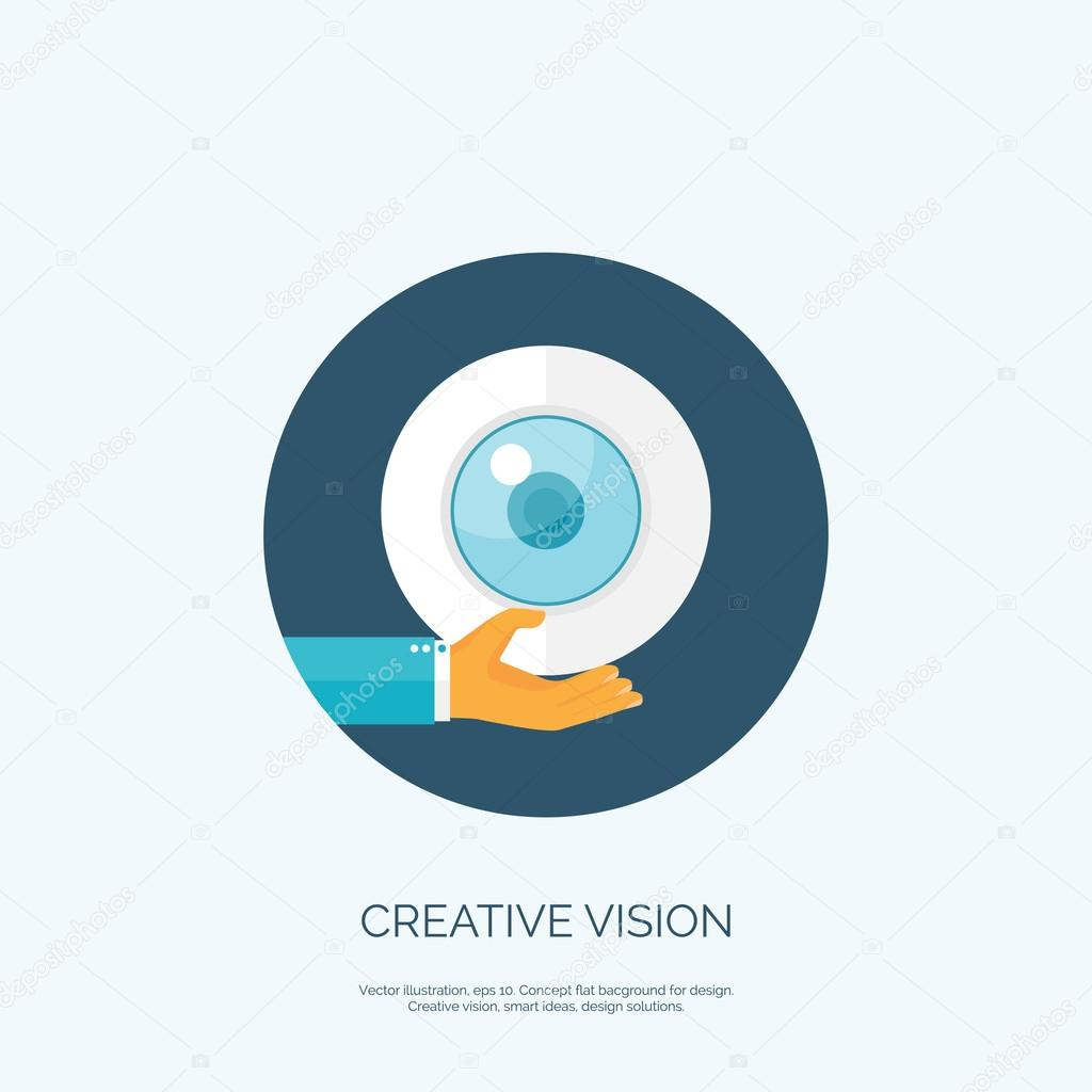 Vector Illustration Flat Eye And Hand Creative Vision Concept