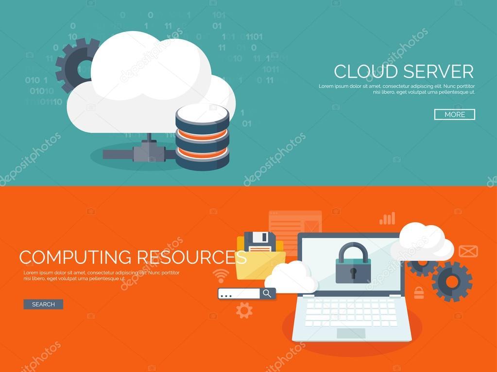 Vector illustration  Flat cloud computing background  Data storage