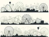 Fotografie Vektor-Illustration. Riesenrad. Karneval. Funfair Hintergrund. Circus Park. Achterbahn