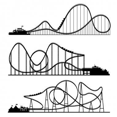 Vector illustration. Ferris wheel. Carnival. Funfair background. Circus park. Roller coaster.
