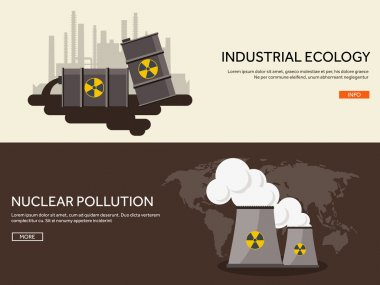 Vector illustration. Flat industrial background. Nuclear power plant, fuel. Environment protection. Eco problems. Air pollution. Urbanization.
