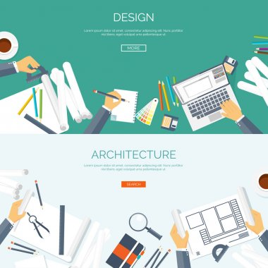 Vector illustration. Flat architectural project. Teamwork. Building and planning. Construction. Pencil, hand. Architecture ,design.