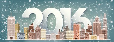 2016. Vector illustration. Winter urban landscape. City with snow. Christmas and new year.  Cityscape. Buildings.