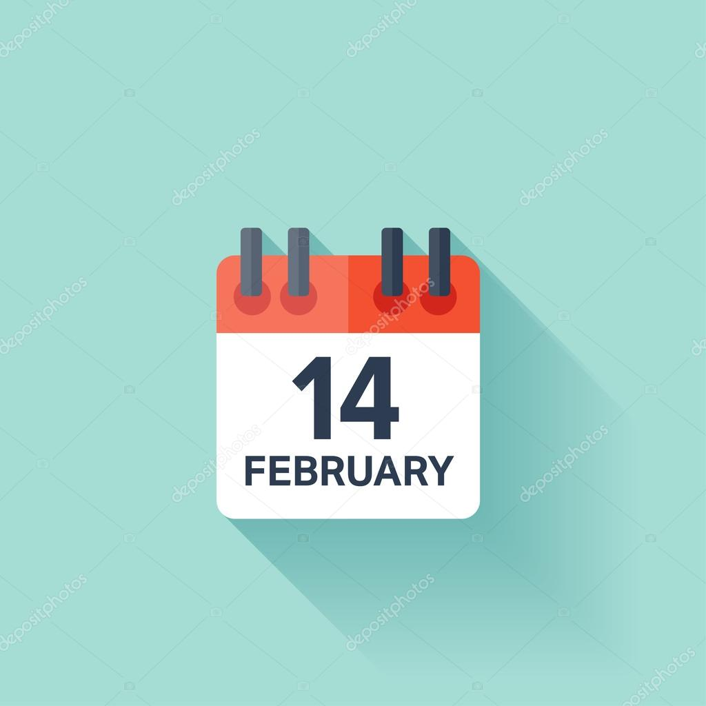 February Calendar Illustration : February calendar icon valentines day love date