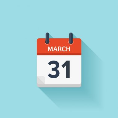 March 31. Vector flat daily calendar icon. Date and time, day, month. Holiday. stock vector
